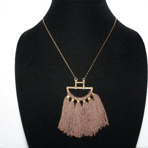 Long bronze brown tassel necklace